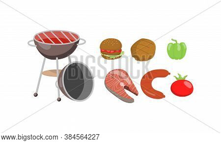 Barbecue Foodstuff And Gridiron For Grilling Vector Set