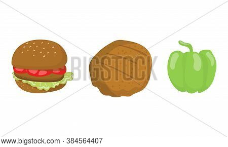 Barbecue Foodstuff With Hamburger And Patty Cake For Grilling Vector Set