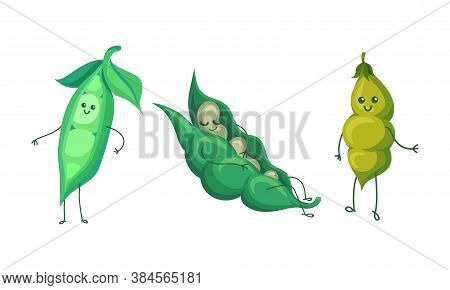 Humanized Green Peas And Beans Pod Smiling Vector Set