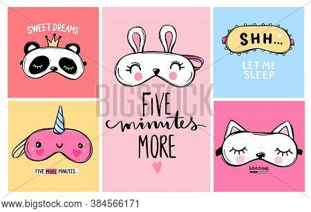 Vector Cards Collection With Sleep Masks And Quotes. Blindfold Classic And Animal Shaped - Unicorn,