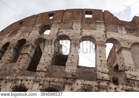 Rome, Italy - June 27, 2010: Detailed View Of The Exterior Arches Of The Colosseum, Rome.