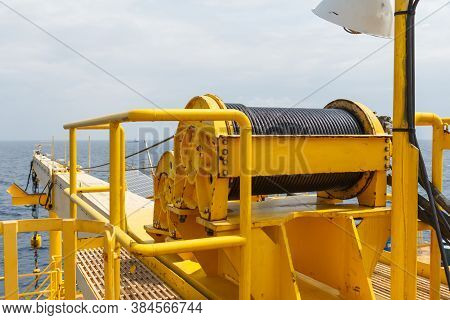 Boom Crane On Production Platform,energy And Petroleum Industry In Sea Offshore