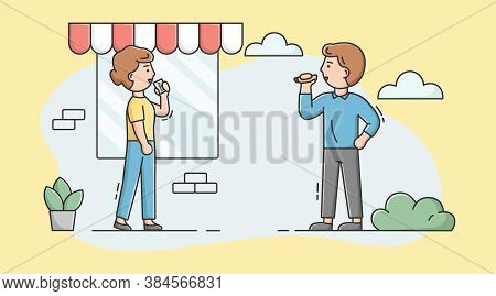 Cheat Meal, Healthy Lifestyle Concept. Man And Woman Eating Hotdog And Drinking Soda. Characters Che