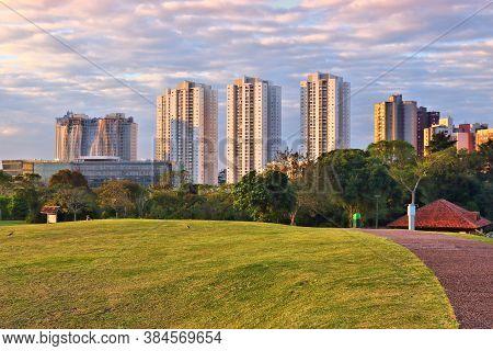 Curitiba, Brazil - City Skyline Seen From The Botanical Gardens.