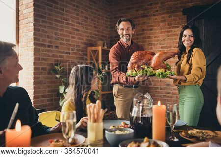 Portrait Of Nice Attractive Cheerful Big Full Family Meeting Wife Husband Married Couple Carrying Pl