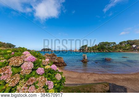 Saint Guirec Bay Beach With The Saint Guirec Oratory On The Right. Pink Granite Coast, Perros Guirec