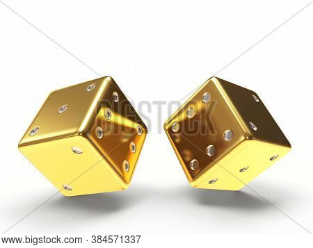 Golden Dice Cubes Isolated On White Background. 3d Illustration