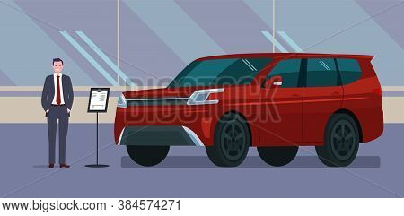 A Male Car Dealer Sells An Suv Car In A Car Dealership. Vector Illustration.