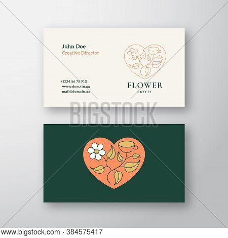 Coffee Flower Abstract Vector Sign, Symbol Or Logo And Business Card Template. Leaves With Cup In A