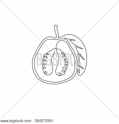 One Single Line Drawing Half Sliced Healthy Organic Java Guava For Orchard Logo Identity. Fresh Trop
