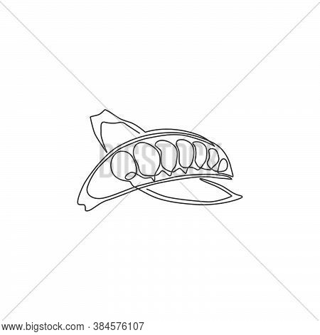 One Continuous Line Drawing Whole Healthy Organic Green Pea For Farm Logo Identity. Fresh Seed Pod O