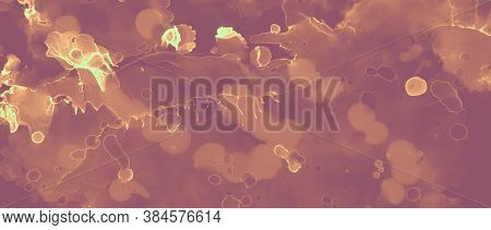 Gold Background. Brown Volcanic Effect. Red Art Hot Magma Abstraction. Orange Hell Artistic Foil. In