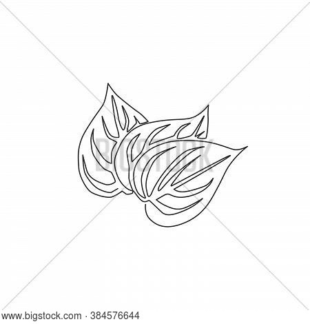One Single Line Drawing Of Pile Healthy Organic Betel Leaf For Farm Logo Identity. Mouth Freshener U