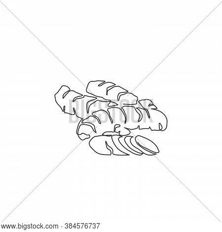 One Continuous Line Drawing Of Whole Healthy Organic Turmeric For Farm Logo Identity. Fresh Curcuma