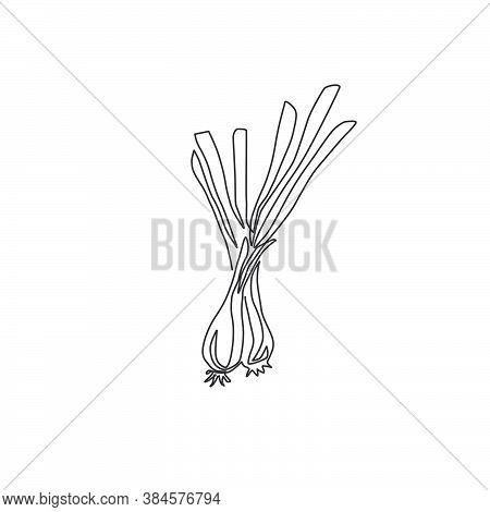 One Single Line Drawing Of Whole Healthy Organic Leek For Plantation Logo Identity. Fresh Ingredient