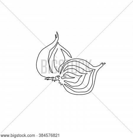 One Single Line Drawing Whole And Sliced Healthy Organic Bulb Onion For Farm Logo Identity. Fresh Co