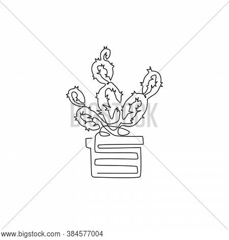 One Continuous Line Drawing Of Cute Potted Tropical Prickly Cactus Plant. Printable Decorative House