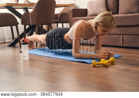 Fit Woman Doing A Forearm Plank Exercise