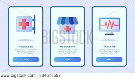Medical Icon Hospital Sign Medical Store Heart Beat For Mobile Apps Template Banner Page Ui With Thr