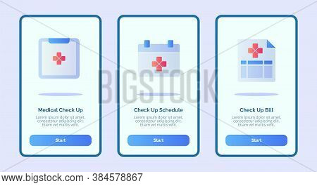 Medical Icon Medical Check Up Schedule Bill For Mobile Apps Template Banner Page Ui With Three Varia