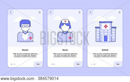 Medical Icon Doctor Nurse Hospital Onboarding Screen For Mobile Apps Template Banner Page Ui With Th