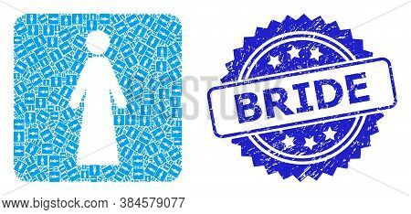 Bride Unclean Seal And Vector Recursive Mosaic Bride. Blue Seal Includes Bride Tag Inside Rosette. V