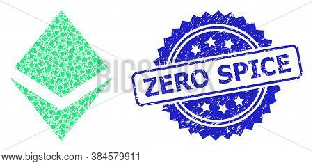 Zero Dirty Seal Print And Vector Fractal Collage Crystal. Blue Seal Contains Zero Caption Inside Ros