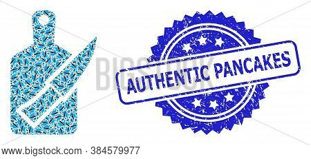 Authentic Pancakes Corroded Seal Print And Vector Fractal Collage Cutting Board And Knife. Blue Seal