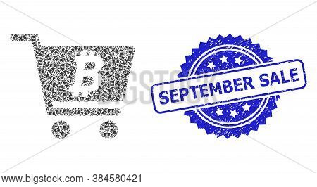 September Sale Textured Stamp Seal And Vector Recursion Collage Bitcoin Webshop. Blue Stamp Seal Inc