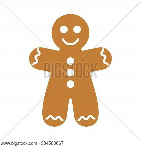 Christmas Gingerbread Man Cookie. Ginger Bread Man With White Icing Decoration. Vector Cartoon Illus