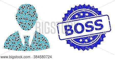 Boss Textured Stamp Seal And Vector Recursion Collage Boss. Blue Stamp Has Boss Title Inside Rosette