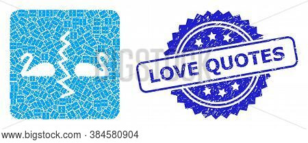Love Quotes Textured Stamp And Vector Recursion Mosaic Divorce Swans. Blue Stamp Seal Contains Love