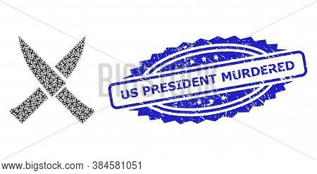 Us President Murdered Dirty Stamp Seal And Vector Recursion Composition Crossing Knives. Blue Stamp