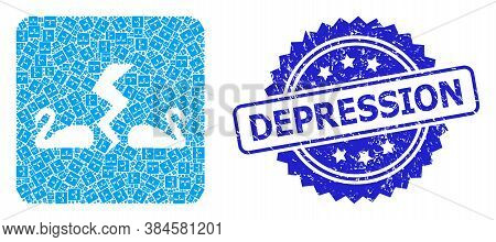 Depression Rubber Stamp Seal And Vector Fractal Mosaic Divorce Swans. Blue Stamp Has Depression Text