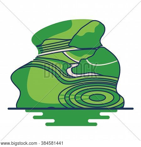 Isolated Moray Peru Landscape Travel Icon- Vector