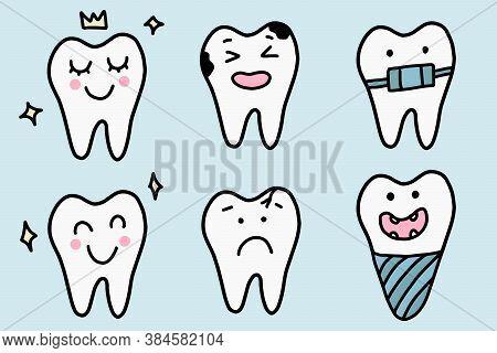 Cute Cartoon Teeth Set. Dental Diseases. Tooth Decay, Inflammation, Dental Plaque, Periodontal Disea