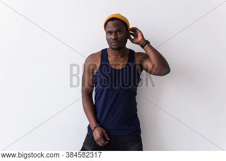 Youth Street Fashion Concept - Portrait Of Confident Sexy Black Man In Stylish T-shirt On White Back