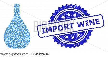 Import Wine Unclean Stamp Seal And Vector Recursion Composition Glass Jug. Blue Stamp Seal Includes