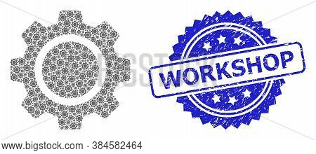 Workshop Scratched Stamp Seal And Vector Recursion Composition Cog Wheel. Blue Stamp Seal Contains W