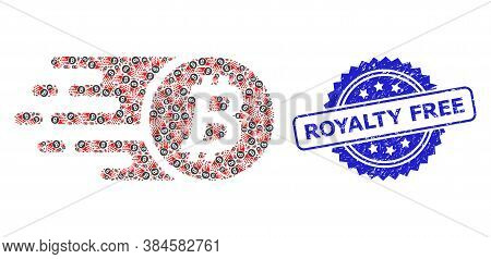 Royalty Free Grunge Stamp Seal And Vector Recursive Mosaic Bitcoin Coin. Blue Seal Contains Royalty