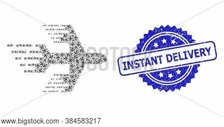 Instant Delivery Textured Stamp Seal And Vector Recursive Collage Airplane. Blue Stamp Seal Includes