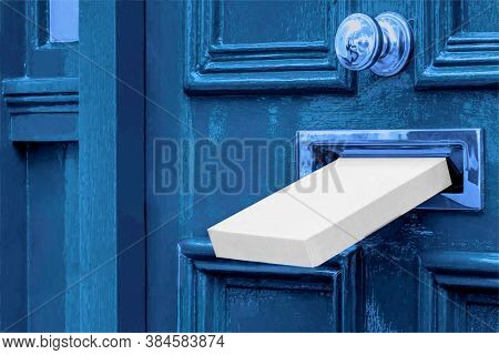 Sending A Gift In The Post.postal Box The Parcel Is Delivered Through The Parcel Door Opening.white