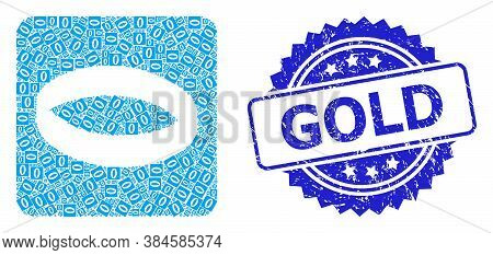 Gold Rubber Stamp Seal And Vector Recursion Collage Gold Ring. Blue Stamp Seal Has Gold Caption Insi