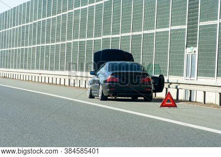 Car On The Emergency Lane, Breakdown On The Highway. Faulty Car  On Emergency Stopping Lane On The R