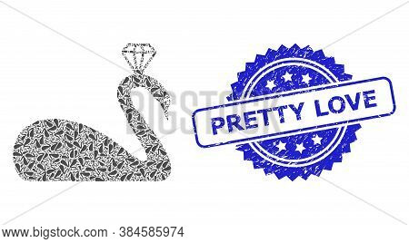 Pretty Love Dirty Stamp And Vector Recursive Composition Crowned Swan. Blue Stamp Contains Pretty Lo