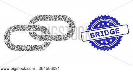 Bridge Textured Seal And Vector Recursive Mosaic Chain. Blue Stamp Seal Includes Bridge Title Inside