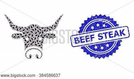 Beef Steak Textured Seal Print And Vector Recursive Collage Bull Head. Blue Seal Contains Beef Steak