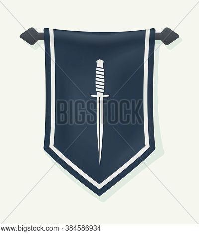 Cartoon Banner. Dagger Silhouette On Hanging Wall Pennant. Vertical Textile Flag. Knife Sign. Can Be