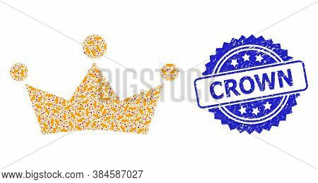 Crown Grunge Stamp Seal And Vector Recursive Collage Crown. Blue Stamp Seal Has Crown Tag Inside Ros