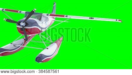 Retro Seaplane. 3d Render. Isolated On Green Background.